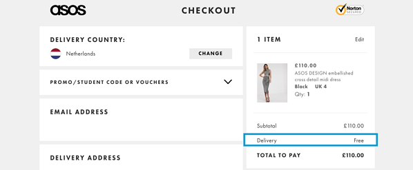 eCommerce marketing strategy example ASOS free