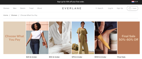 customer-centricity example Everlane