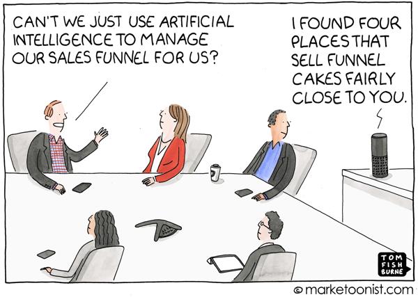 AI cartoon sales funnel