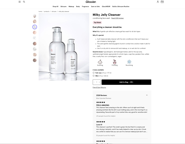 Glossier PDP persuasive design browsers to buyers