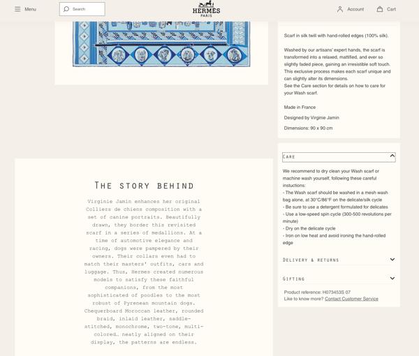 Hermes persuasive design product descriptions