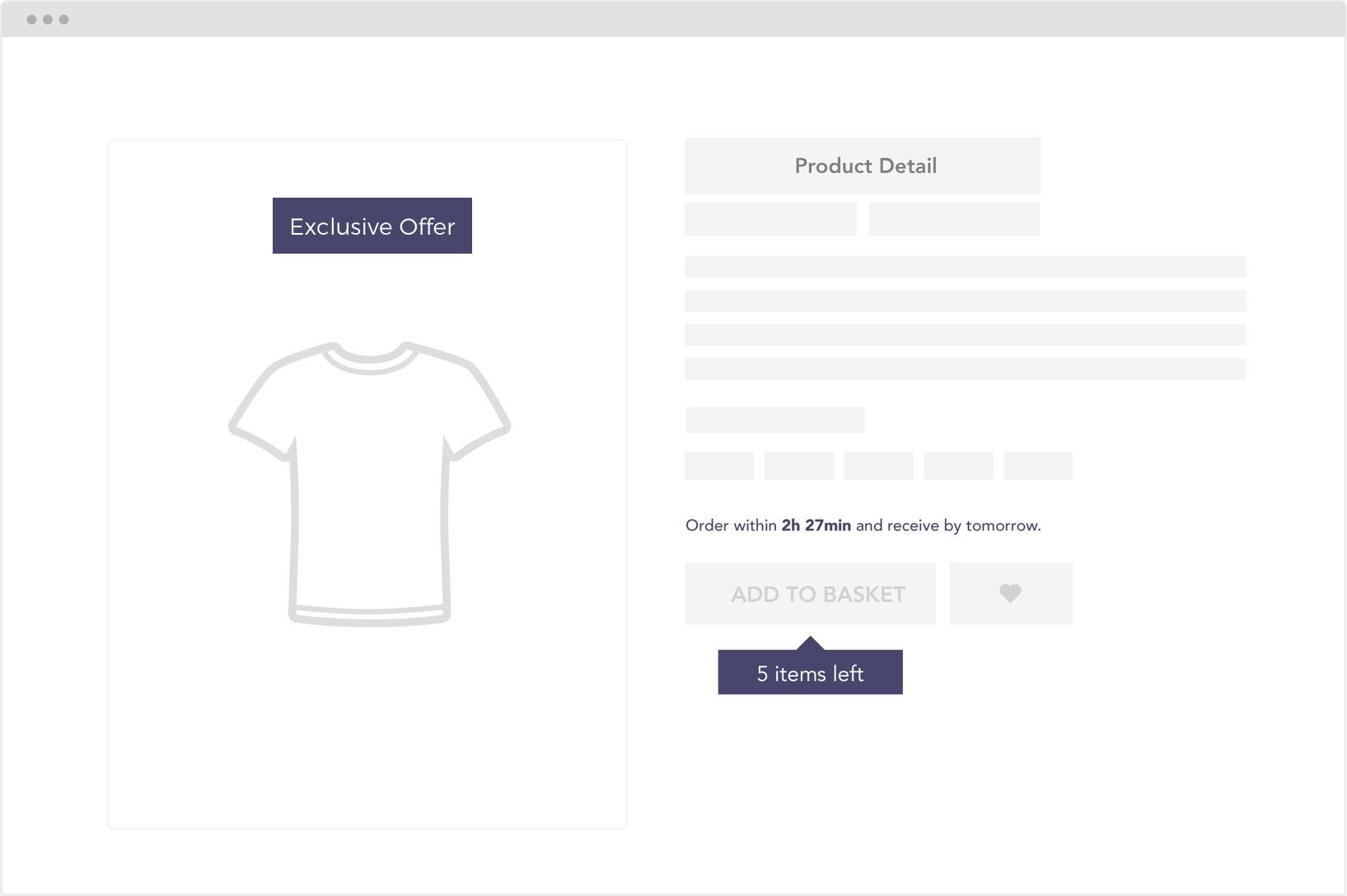 Scarcity product detail page