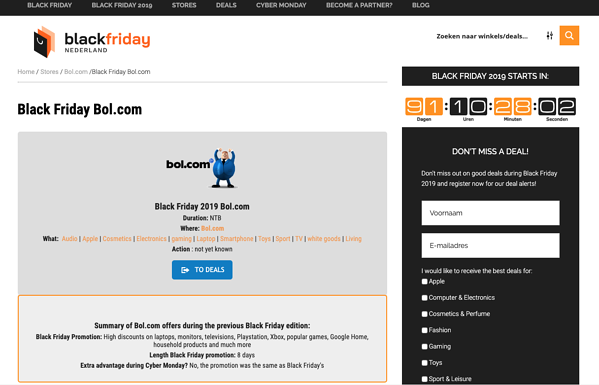 bol.com black friday landing page