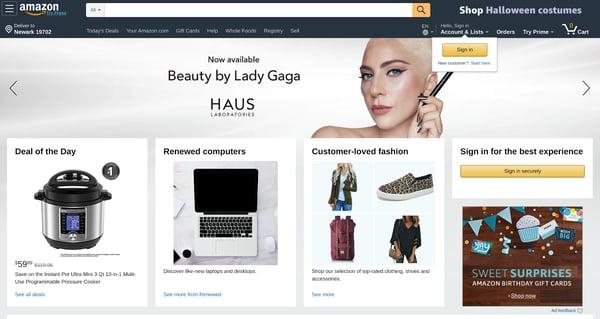 amazon homepage recognizable