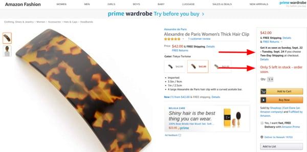 amazon sense of urgency increases sales