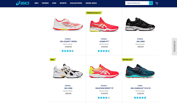asics case study - behavioral nudges on PLP