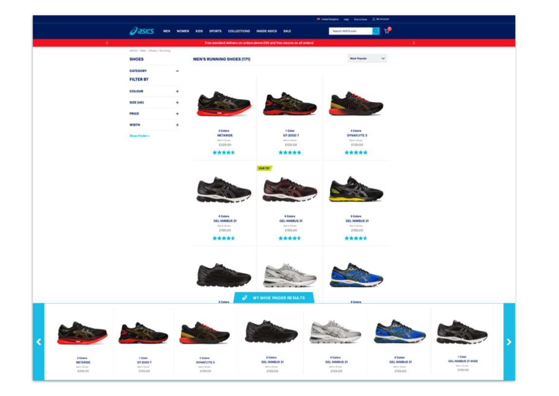 asics case study-shoe finder carousel on PLP