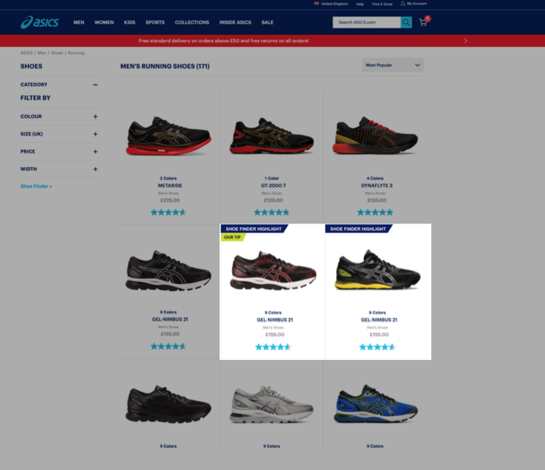 asics case study-shoe finder highlight product badge on PLP