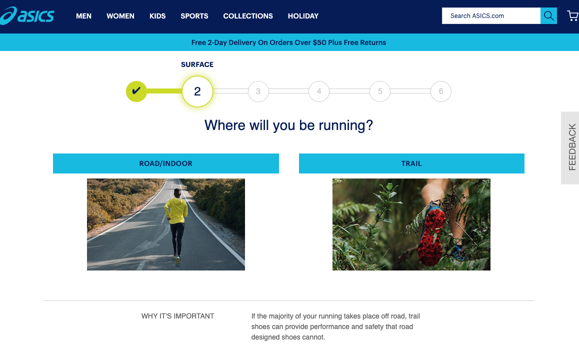 asics case study-shoe finder quiz wizard
