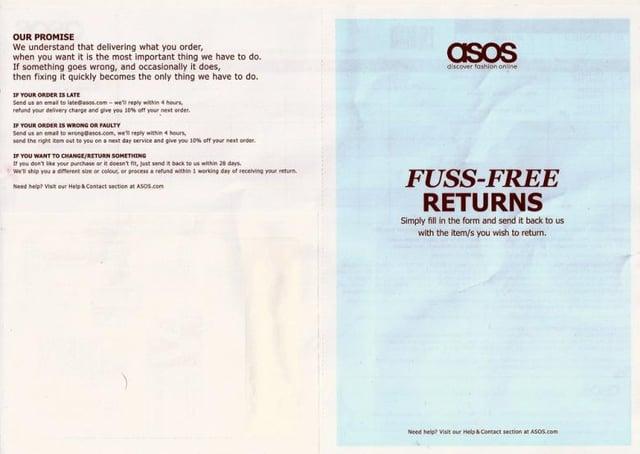 ASOS return form
