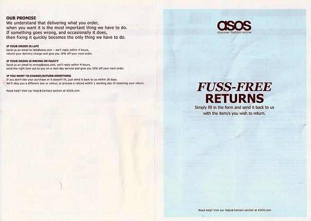 ASOS return form