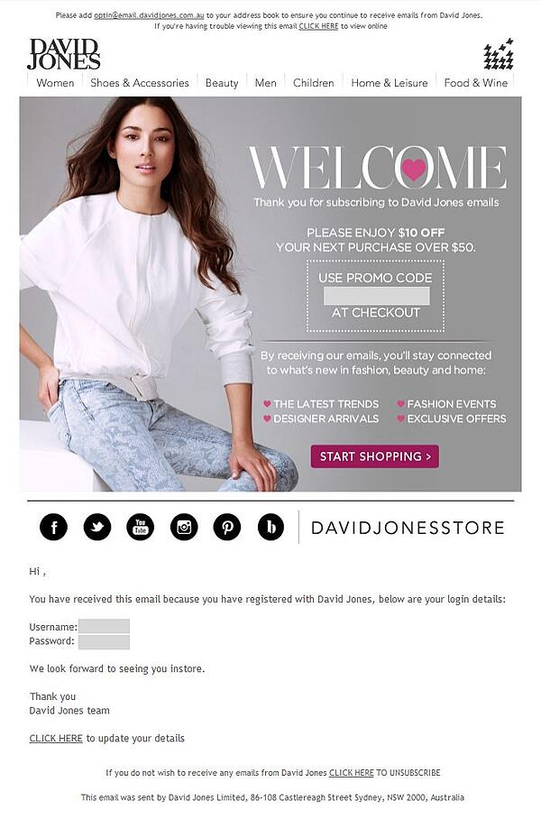 customer segmentation example David Jones welcome email