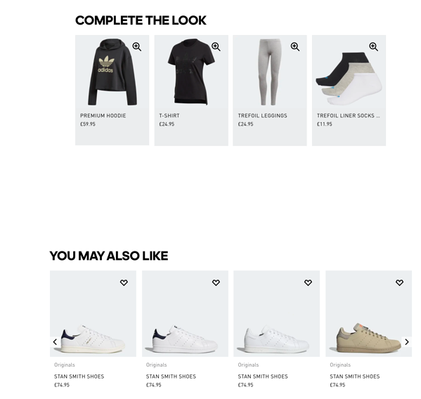 customer-centricity examples adidas product recommendations