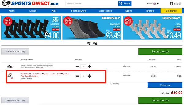 dark pattern sports direct sneak into basket