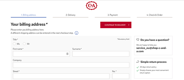 eCommerce marketing strategy example C&A