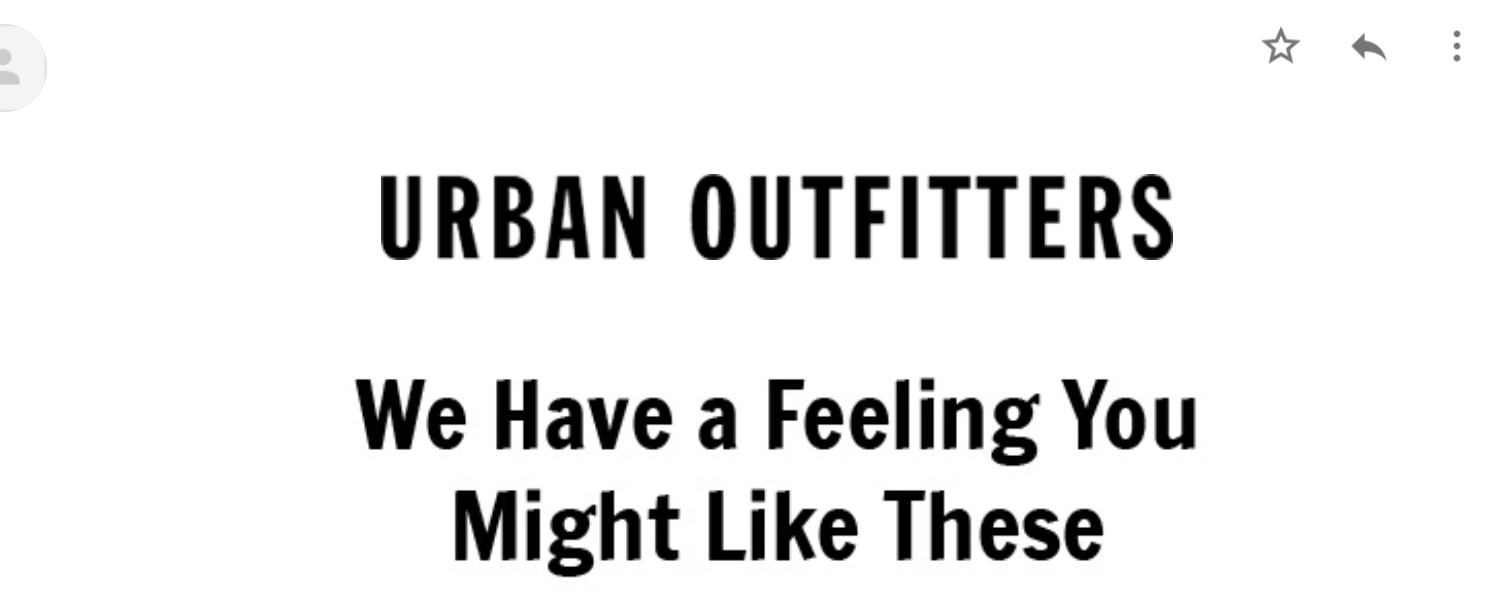 nudging in emails urban outfitters 2