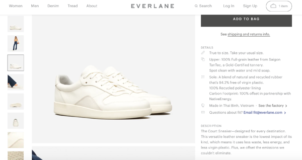 product attributes and benefits everlane