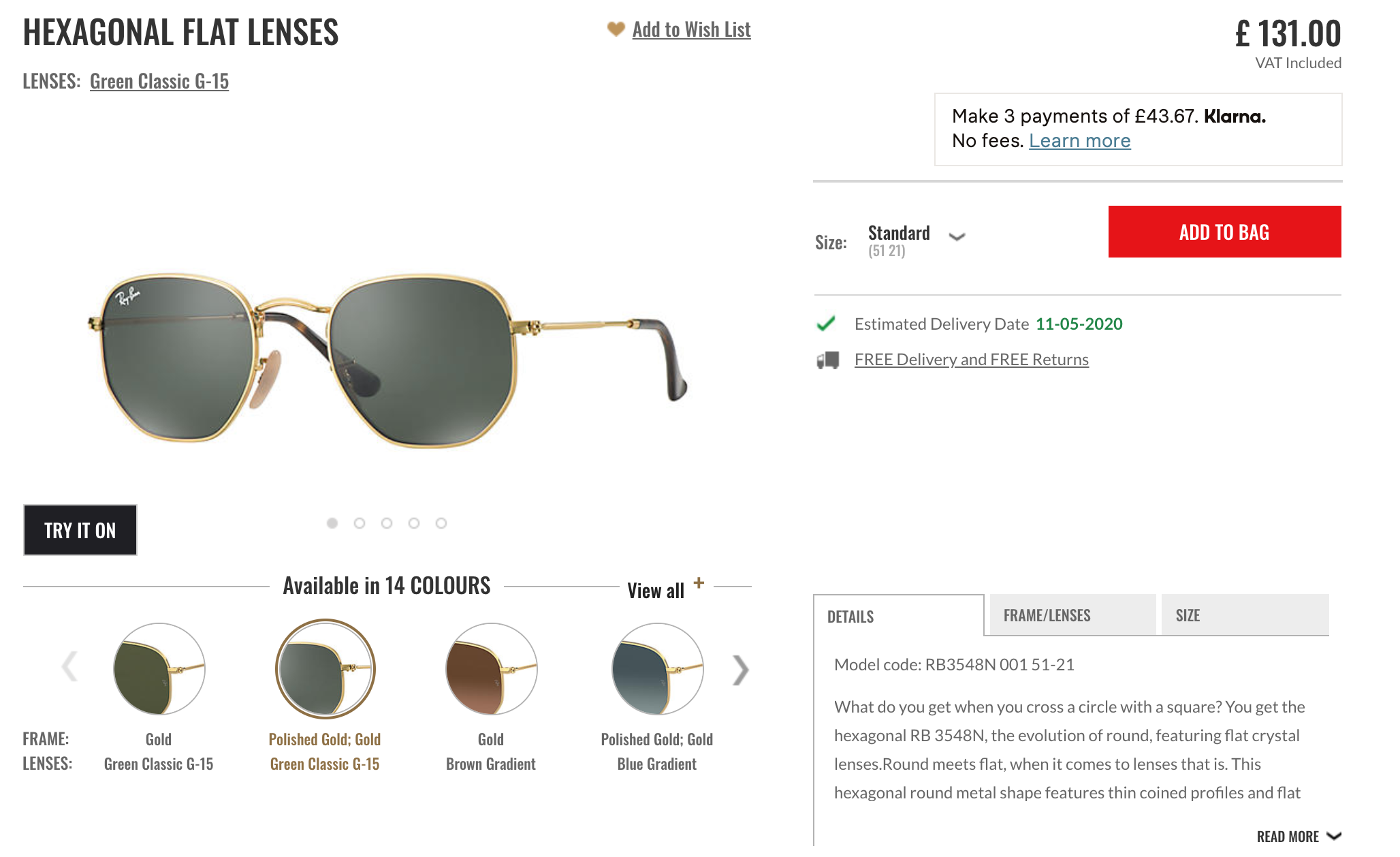 product attributes and benefits raybans