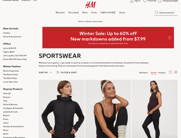 product centric vs customer centric h&m athleisure