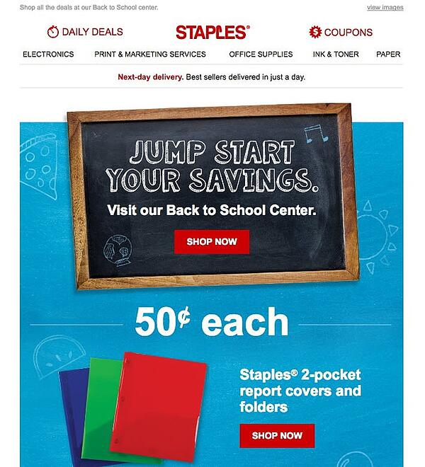 staples back to school email campaign