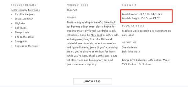 product detail page design best practices asos