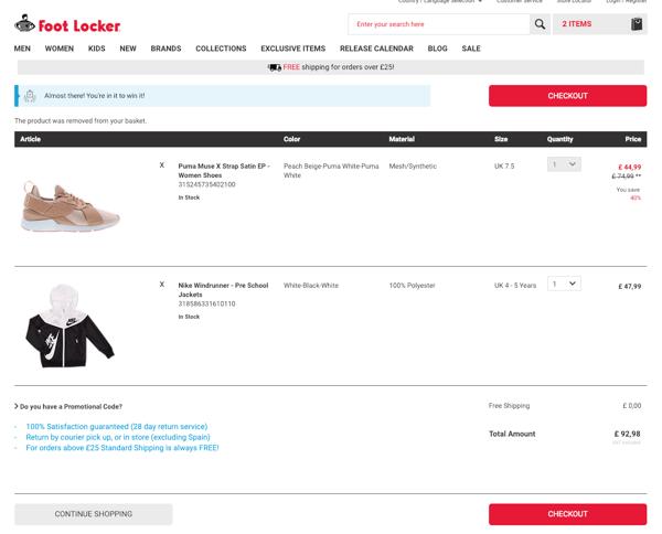 footlocker checkout